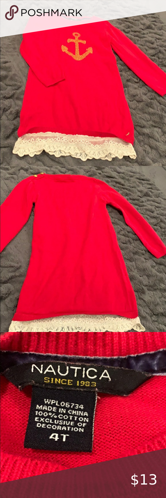 Nautica Girls Red Sweater Dress With Gold Details Nautica Girls Sweater Dress Color Red With Cream Lace T Red Sweater Dress Girls Sweater Dress Red Sweaters [ 1740 x 580 Pixel ]