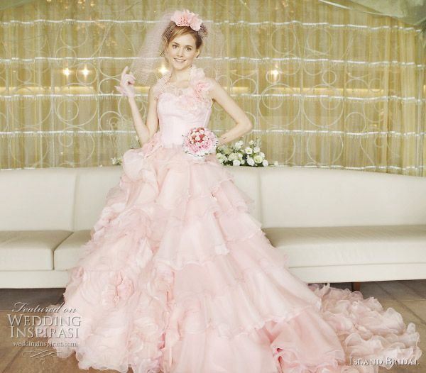 Island Bridal Color Wedding Dresses Collection | Pink ball gowns ...