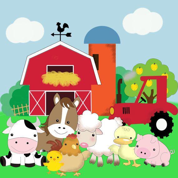 Kit imprimible animales de la granja fiesta animales de for Como hacer una granja de peces