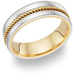 Two Tone Gold Rope Design Wedding Band 625 00 With The Rope Style Of This Ring It Rings A Nautical Th Wedding Ring Bands Wedding Rings Wedding Band Designs