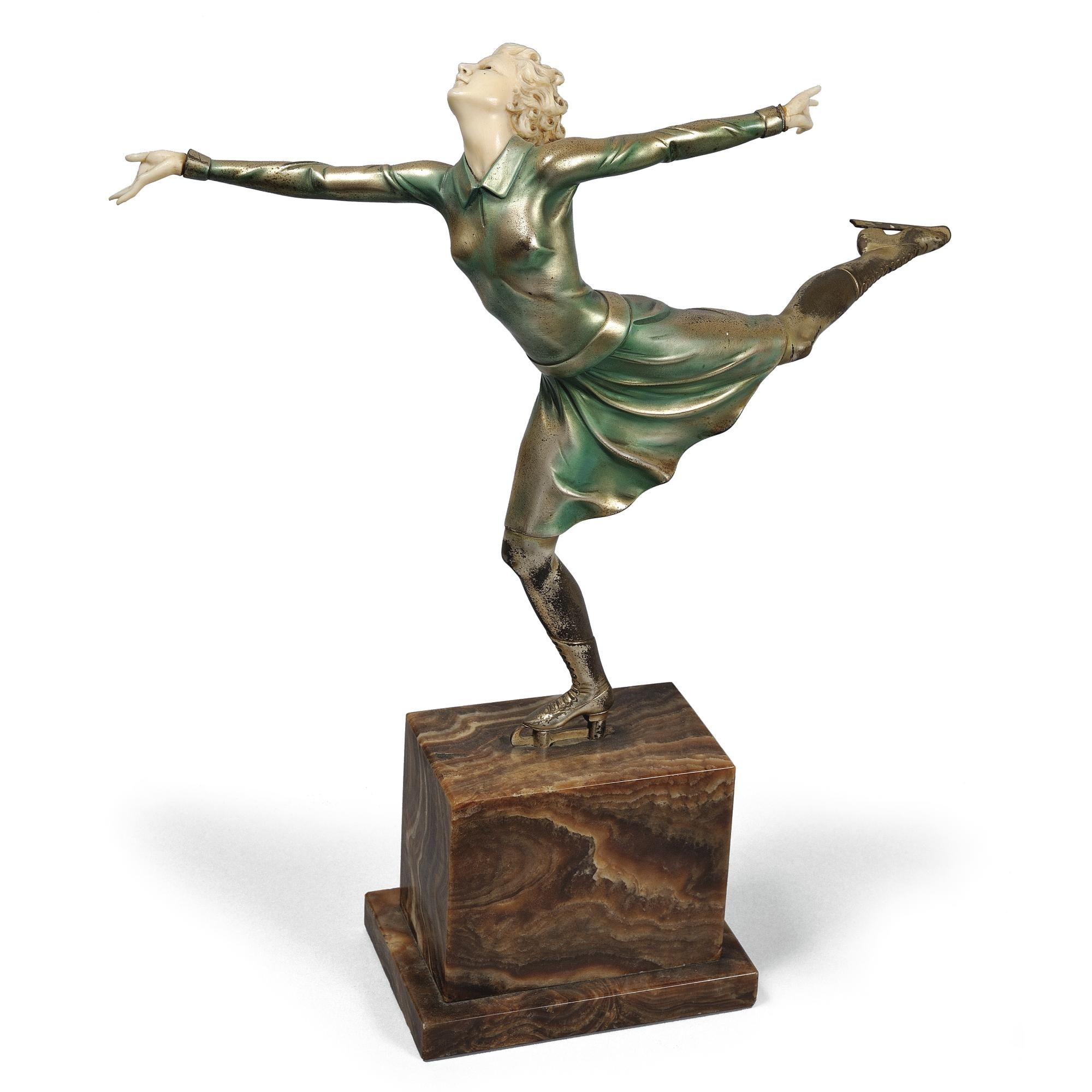 Ferdinand Preiss bronze and ivory figure of a | Deco statue