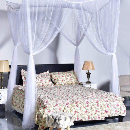 Four Corner Post Elegant Mosquito Net Bed Canopy Set White Full