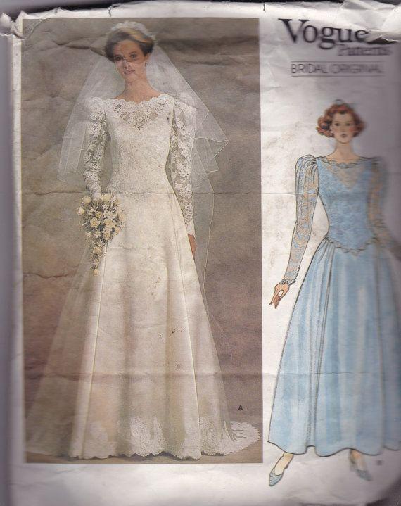 Vogue 1519 Vintage Pattern Wedding Dress or Bridesmaid Dress Size 14 ...