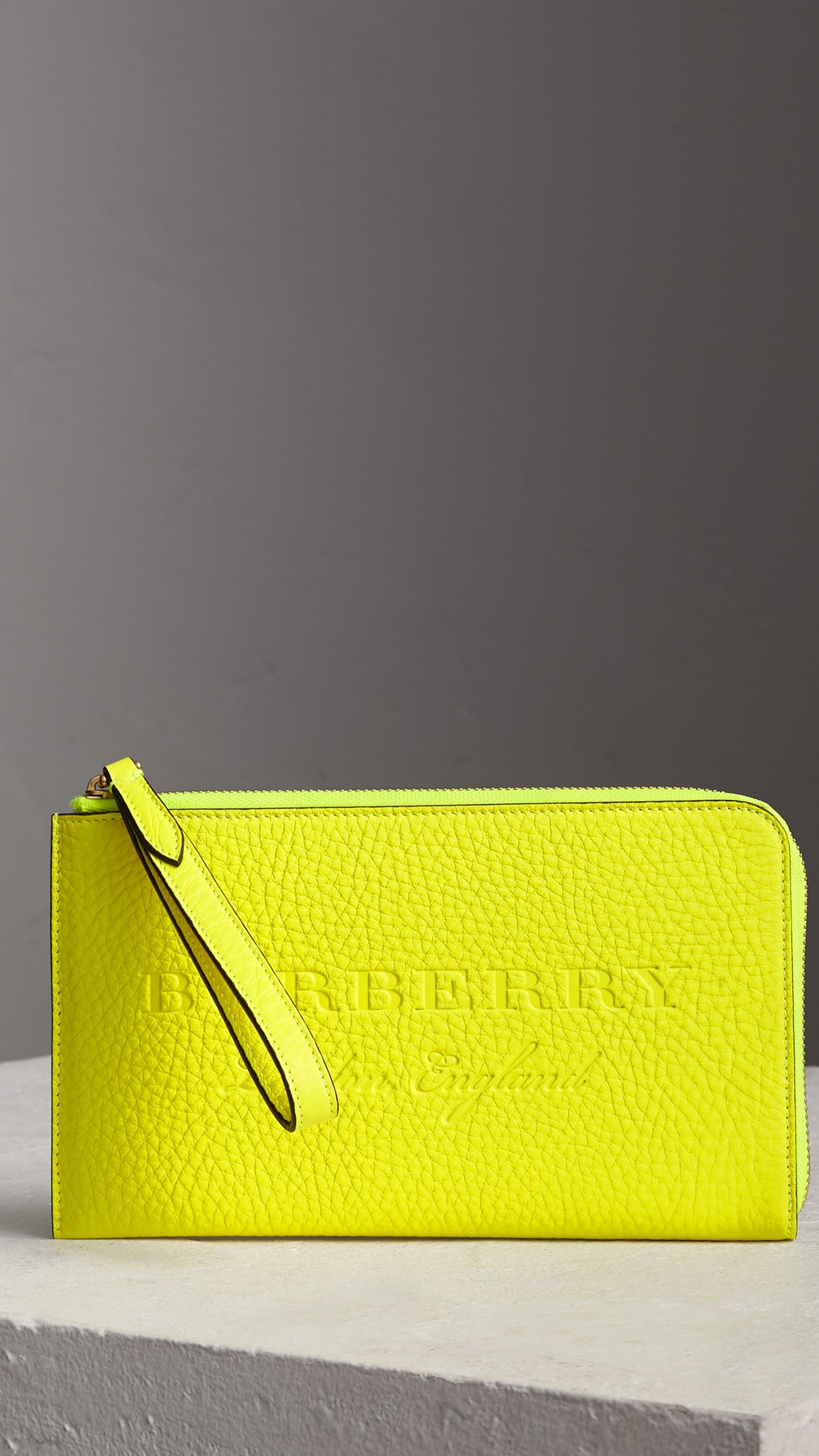 b3612ded38f9e Embossed Neon Leather Travel Wallet in Bright Yellow