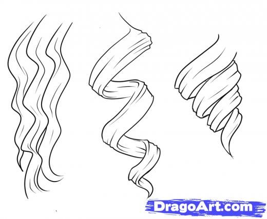 Step 1 How To Draw Curly Hair Draw Curls How To Draw Hair Curly Hair Drawing Anime Hair