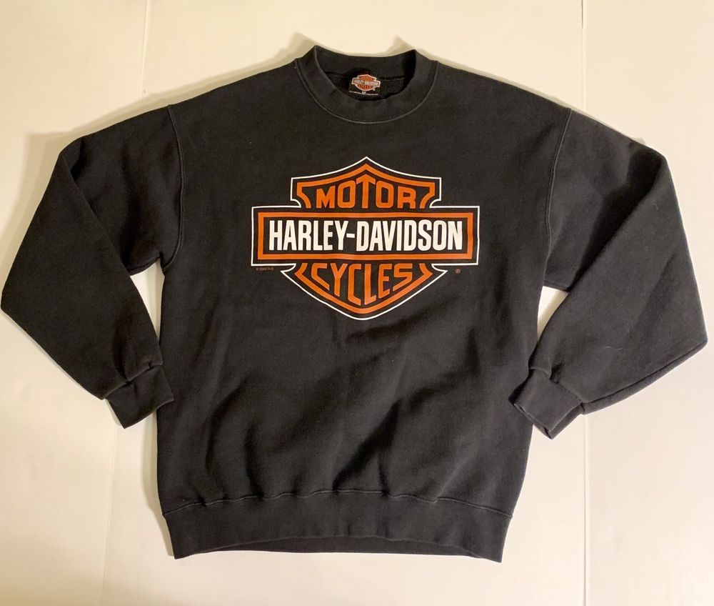 Harley-Davidson Mens Bar /& Shield Long Sleeve Crew Neck Fleece Sweatshirt Gray