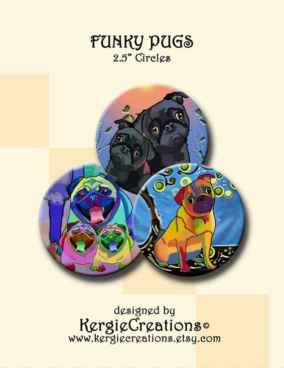 FUNKY PUG DOGS   2.5 inch Digital Collage Sheet by KergieCreations