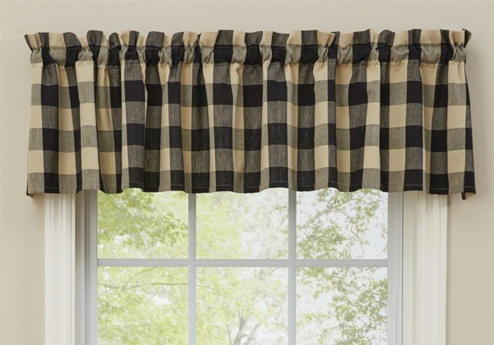 From The Wicklow Black Collection Unlined Valance And Tan Buffalo Check Machine Wash Cool Delicate Cycle Line Dry Rod Pocket Measures 1 75 In