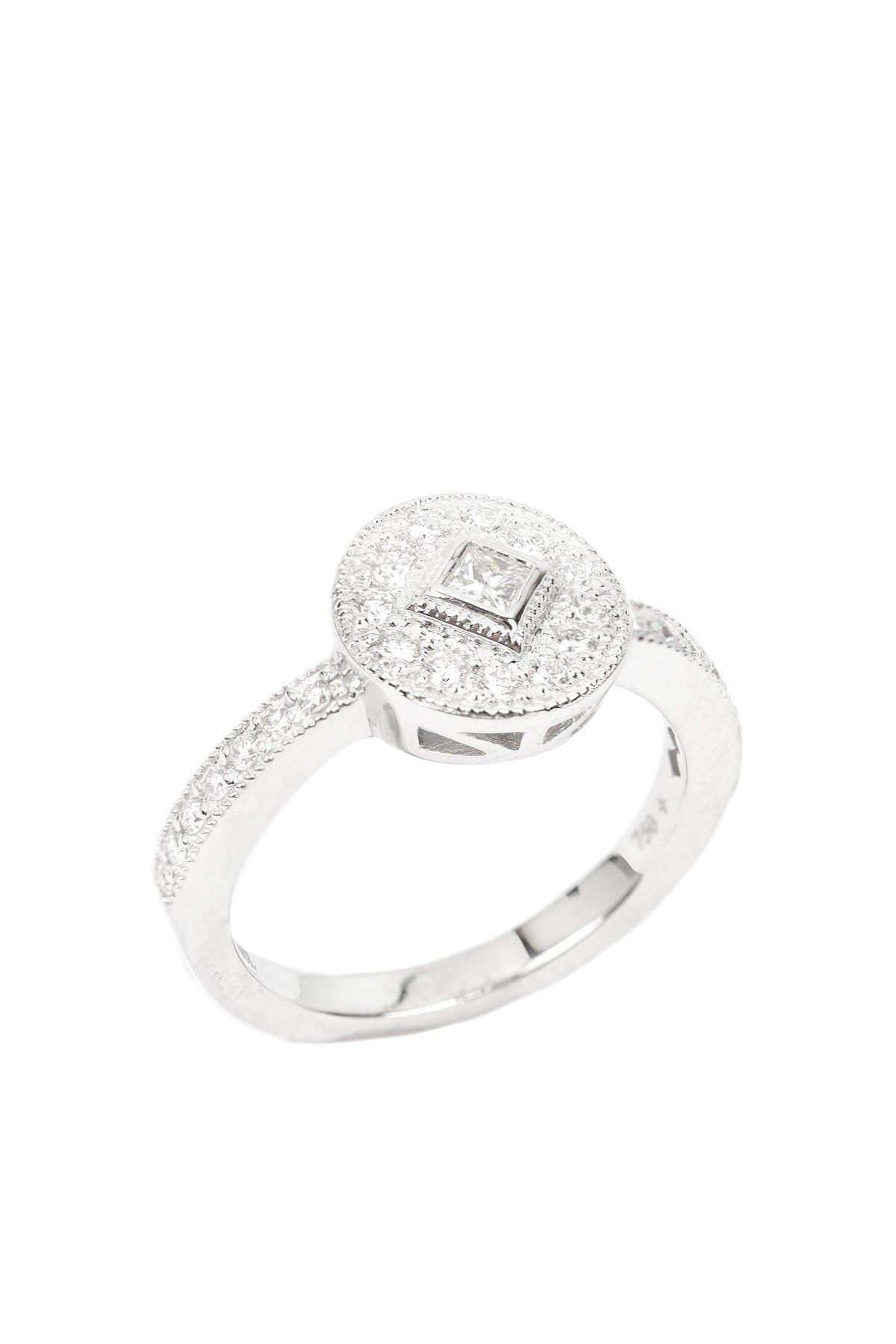 Charriol 18K White Gold Princess Cut & Pave Diamond Round Ring ...