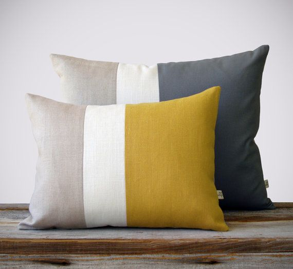 Color Block Pillow Set - (12x16) Yellow and (16x20) Gray ...