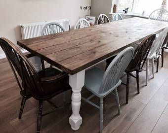 Custom Made Rustic Farmhouse Refectory Dining Table Upto 12ft 16 Chairs Dining Table Modern Farmhouse Dining