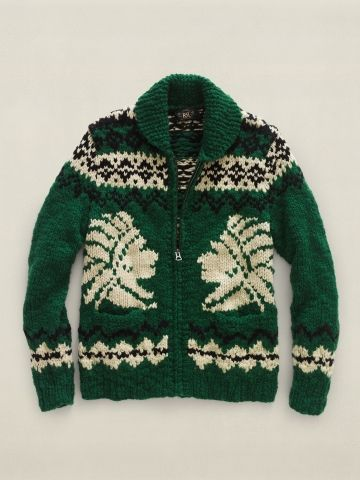 Double RL Cowichan Zip Front Sweater