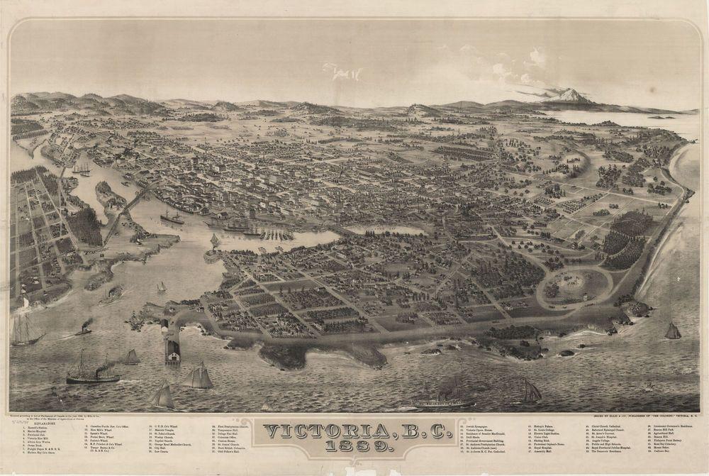 1889 VICTORIA BC Canada Birds Eye View