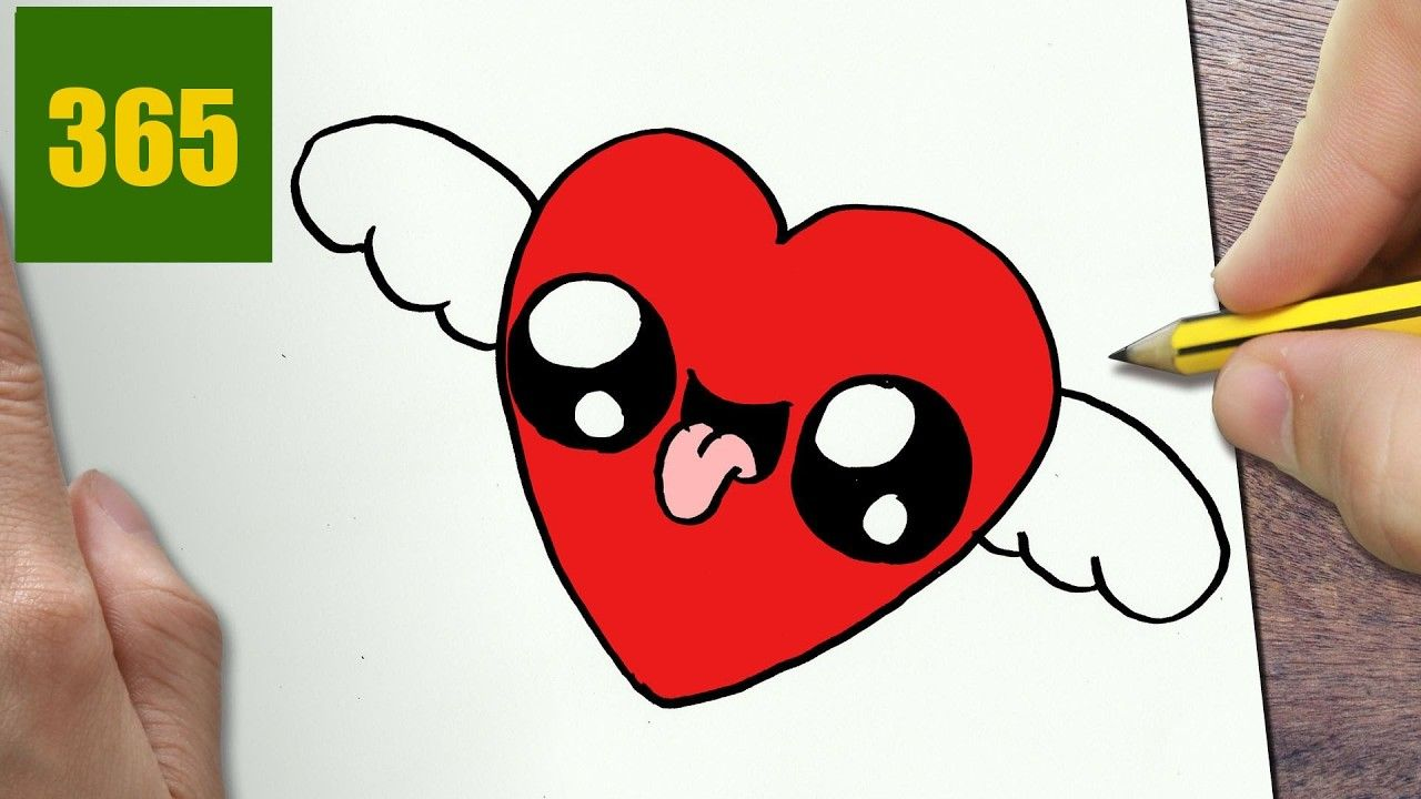How To Draw A Heart With Wings Cute Easy Step By Step Drawing