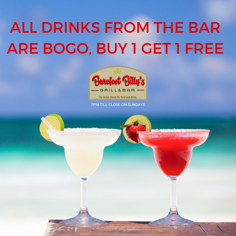 Sunday Special Bogo From 7pm Till Close Its Bogo On All Drinks From The Bar Bogo Drinkspecial Barefootbil Drink Specials Sunday Special Food And Drink