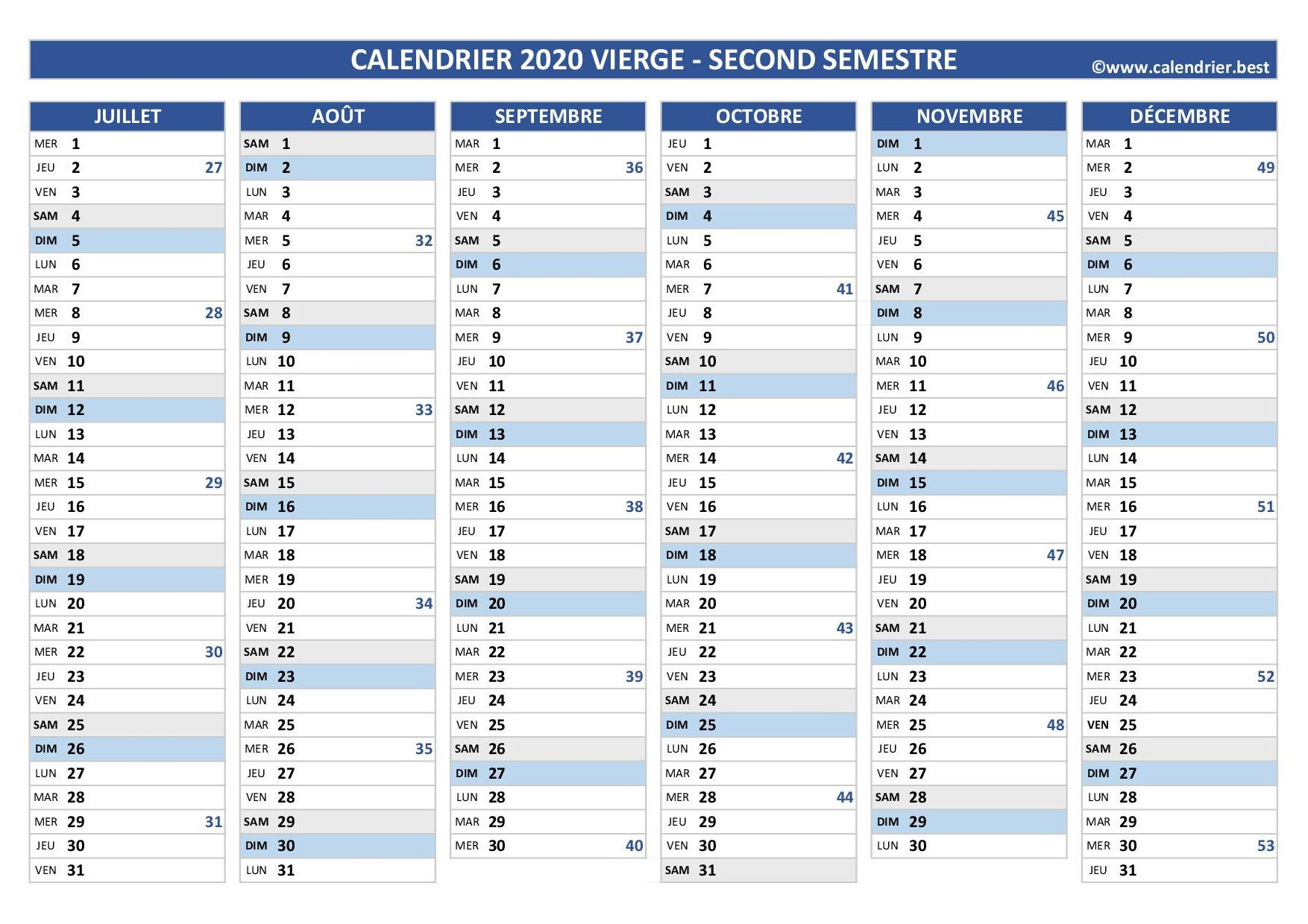 Calendrier 2020 vierge, 2nd semestre en 2020 | Calendrier vierge