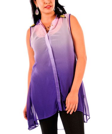 This Purple Ombré Sheer Hi-Low Tunic - Plus is perfect! #zulilyfinds