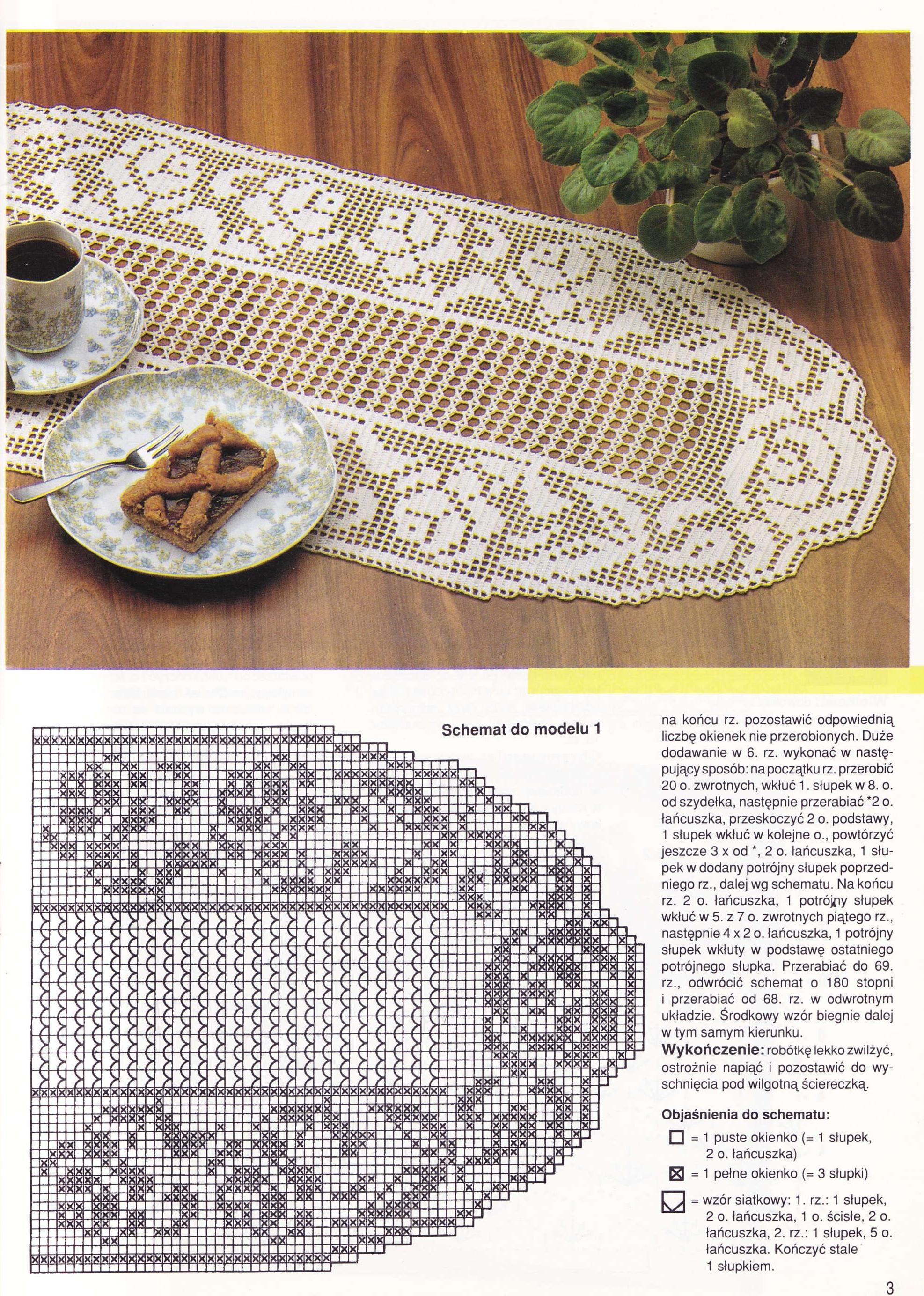 Schema uncinetto runner con rose crochet pinterest for Pizzi uncinetto schemi gratis