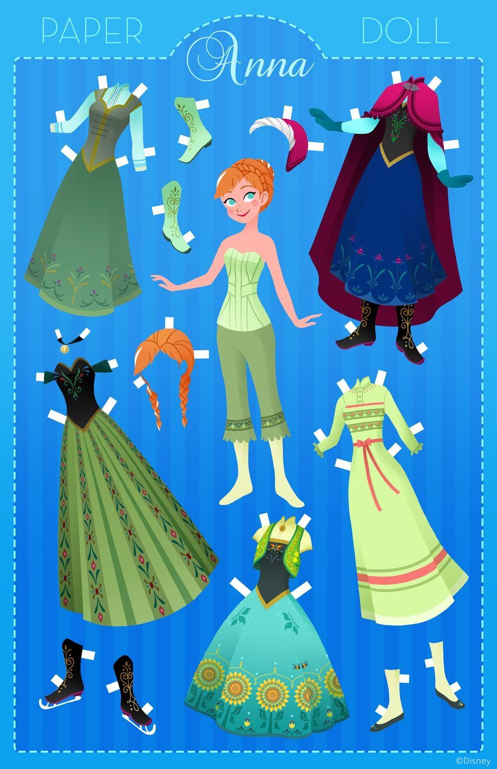 Disney Anna Free Paper Doll Kid's Craft Printables ! ( They have paper doll Printables for all the Disney Princess )