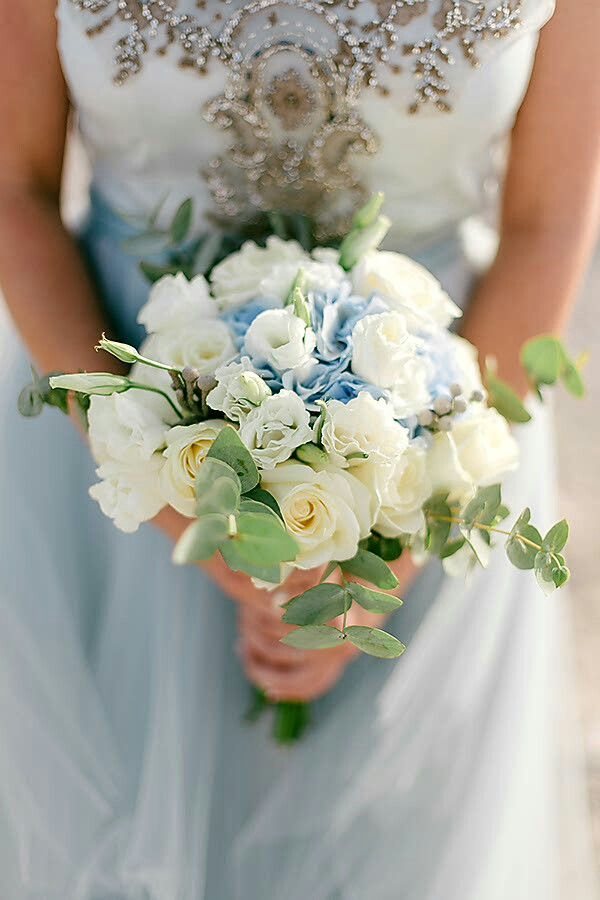 White Lisianthus Cream Roses Baby Blue Hydrangea Green