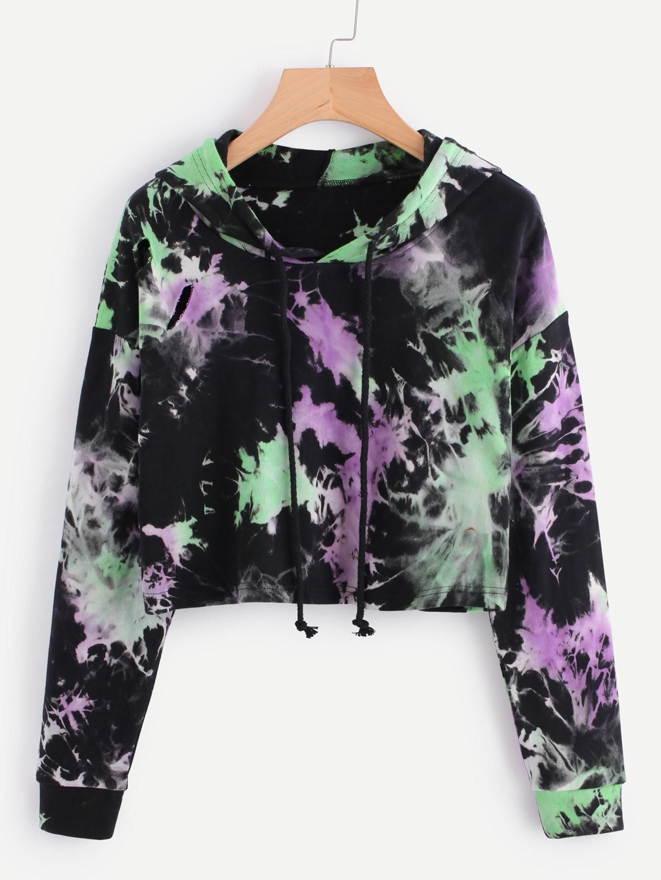 a82fa28f12484 ROMWE -  ROMWE Water Color Ripped Crop Hoodie - AdoreWe.com