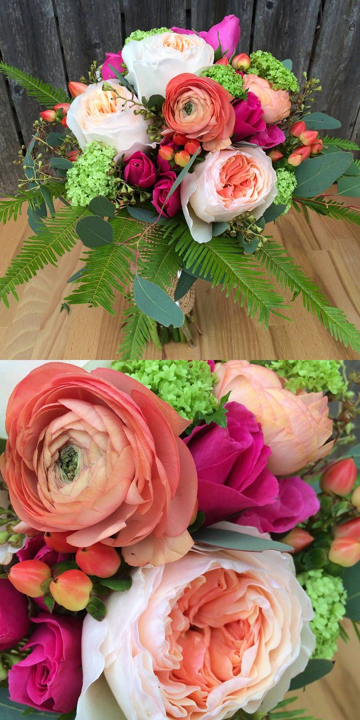 A romantic and feminine mix of coral, peach, pink and green flowers that look like they were gathered from the garden! Mason jars and burlap add rustic accents to this selection that would be perfect for an outdoor event. Uncloudy Studio will design with flowers similar to those pictured which may include garden roses, spray roses, ranunculus, hypericum, viburnum or hydrangea, alstroemeria and other similar blooms to create a cohesive floral design for your day. From Uncloudy Studio via ...