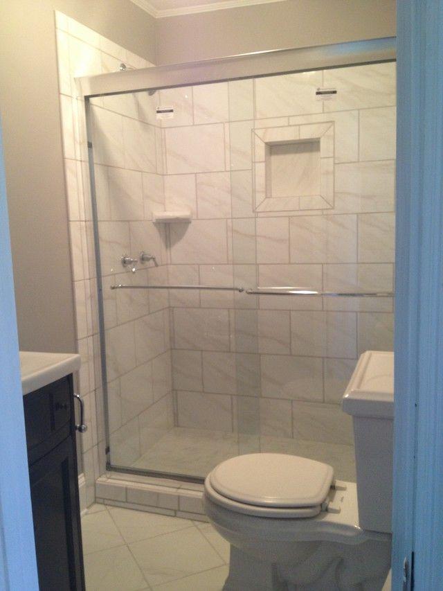 Tiny Bathroom Bianco Carrara Porcelain Tile Bathrooms