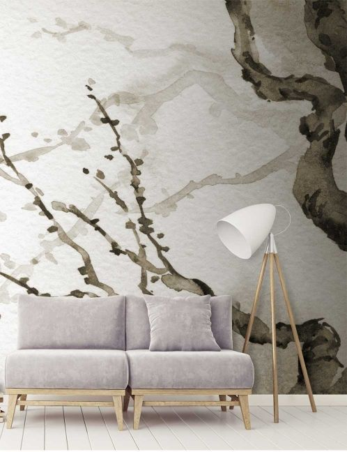 Japanese Tree Wall Mural vintage japanese watercolour wallpaper