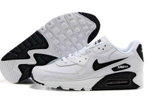 online store a0b4c f9ecc Mens Nike Air Max 90 White All Black