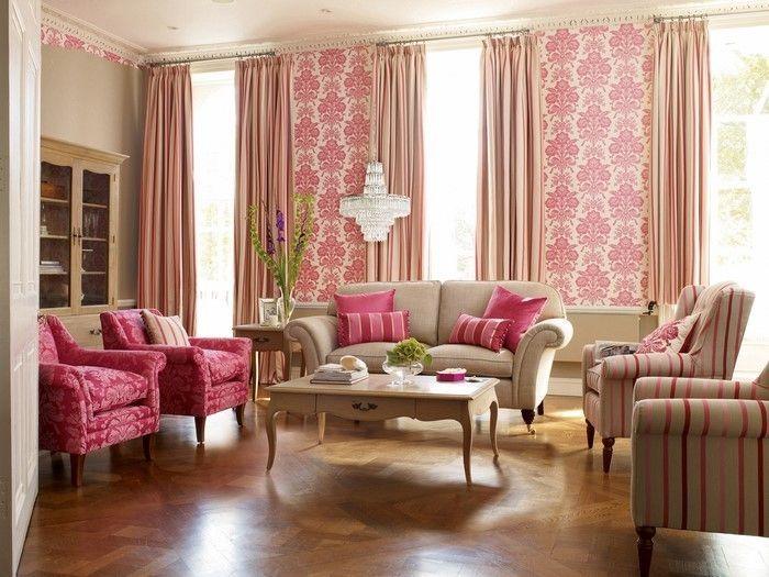 Wohnzimmer Ideen Mit Rosa Ein Auffälliges Design