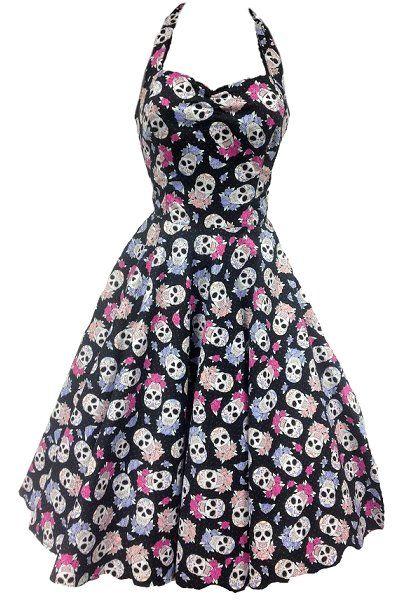 9920601155e43d Astra (3 colors) | Skull fashion | 50s dresses, Skull dress, Rockabilly