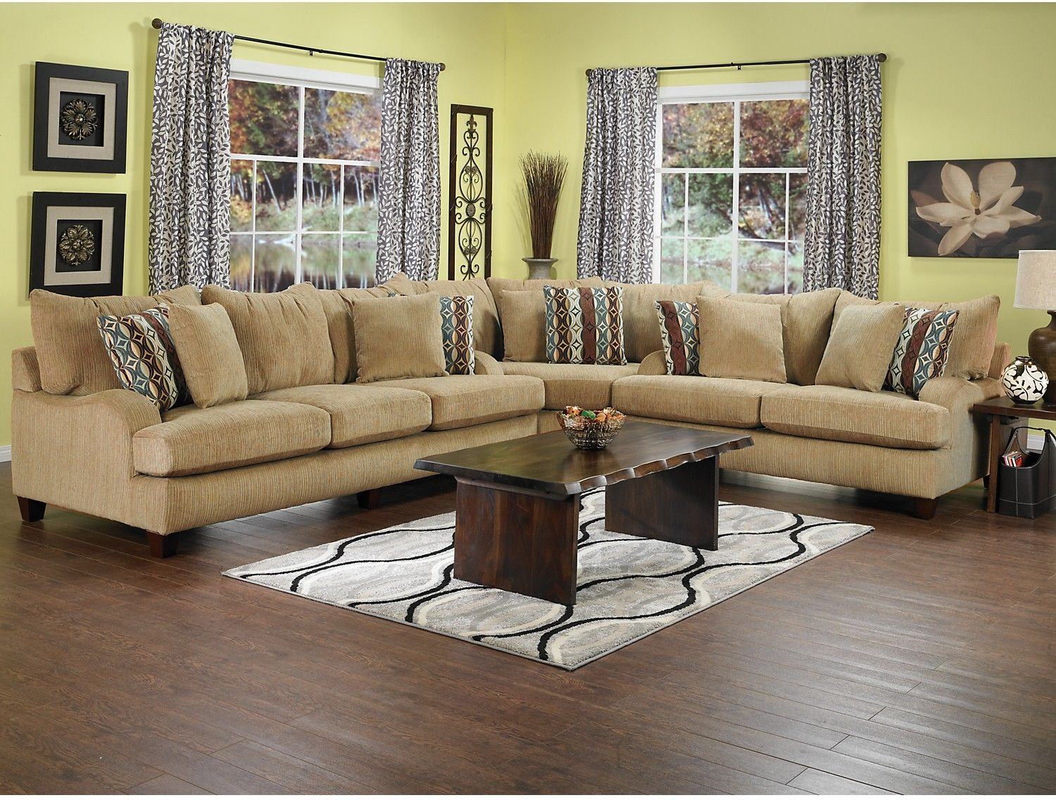 Nice Living Room Furniture   Putty Chenille Sectional   Beige