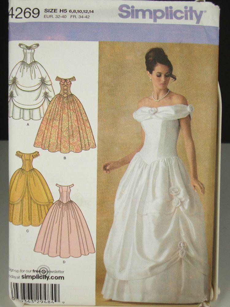Simplicity 4269 Sewing Pattern Wedding Dress Bridal Ballroom Gown 6 ...