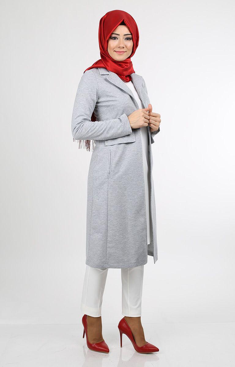 Gri Tesettur Uzun Ceket Modelleri Moda Stilleri Gri Model