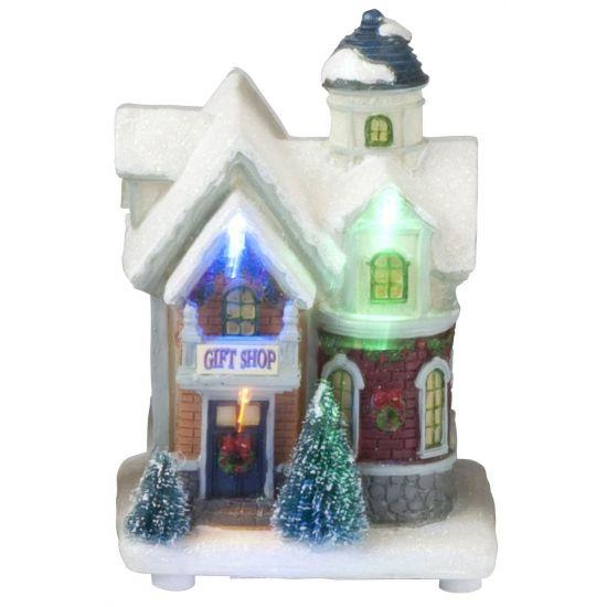 Kersthuisje Gift Shop met LED verlichting. Lichtgevend kersthuisje ...