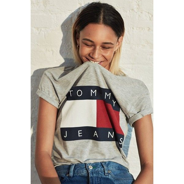 ae9442a28 Tommy Jeans For UO '90s Tee (£39) ❤ liked on Polyvore featuring tops, t- shirts, tees, short sleeve tee, boxy t shirt, logo top, short sleeve t  shirts and ...