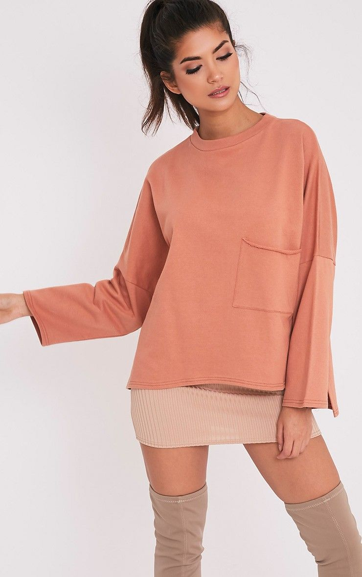 2e5393f4d5 Amiele Dark Peach Oversized Pocket Sweater | Hair, Makeup & Nails