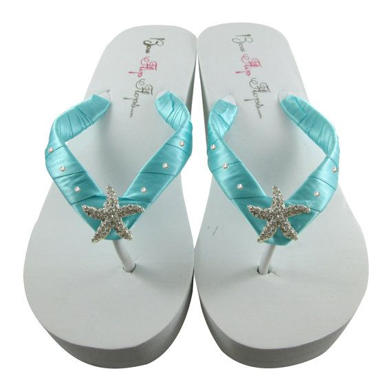 Robins Egg Blue Starfish Bling Bride Flip Flops In Wedge Ivory White Any Colors