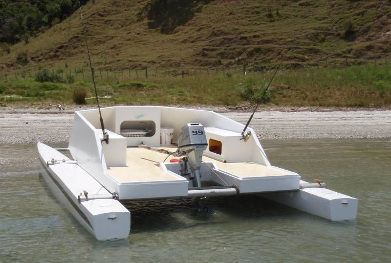 Small catamaran boat plans tekne pinterest sailing for Fishing cabin kits