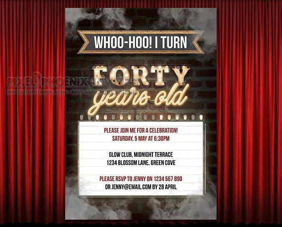 40th Party Invitations Birthday Invite 40 Years Old Retro Steampunk Bday Invites Edit At Home