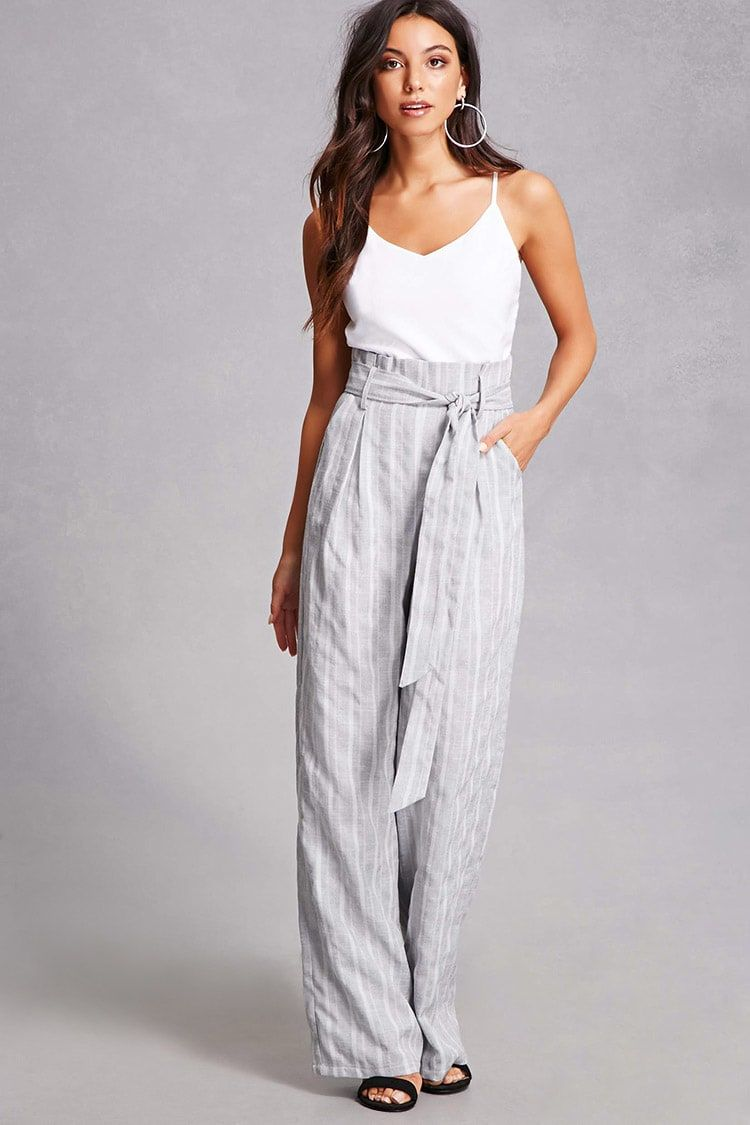 fc2d6587ae7 A woven jumpsuit featuring striped wide-leg pants with a self-tie paper-bag style  waist