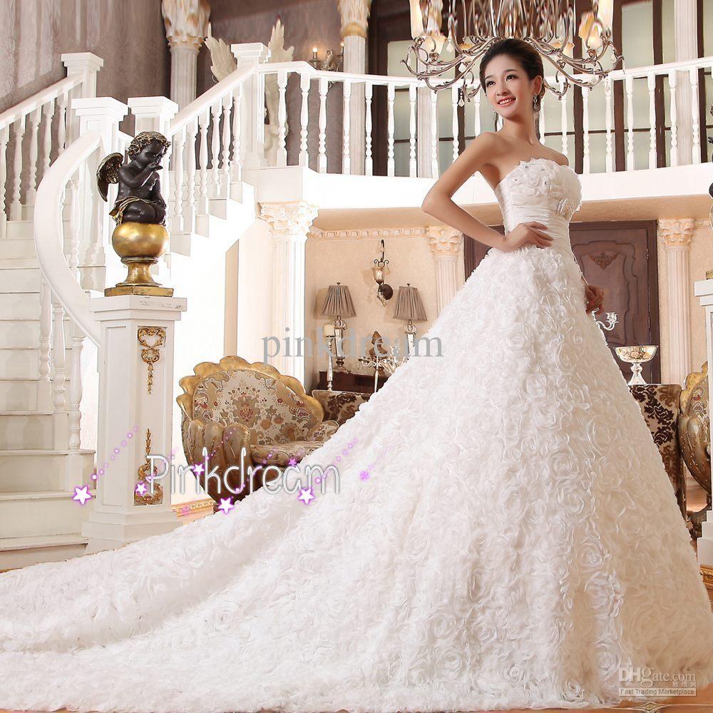 Handmade flower long train bridal dress strapless aline sequin