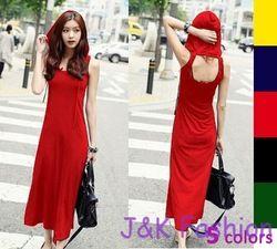 Online Shop Women s Sexy Back Open Hoodie Dress Sleeveless Maxi Long Hooded  Cotton D8-811 8955fed3e9