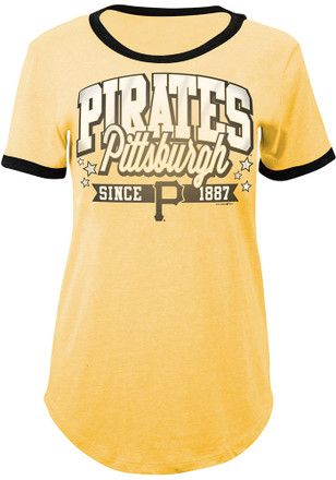 Pitt Pirates Womens Gold Tri Blend T Shirt Pittsburgh Pirates