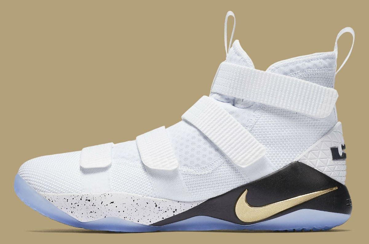 211965bce3b4 Nike LeBron Soldier 11 White Gold Black Release Date Profile 897644 ...