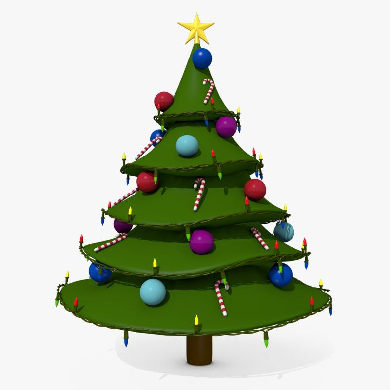 3d Cartoon Style Christmas Tree Model Christmas Christmas Tree 3d Model Cartoon Styles