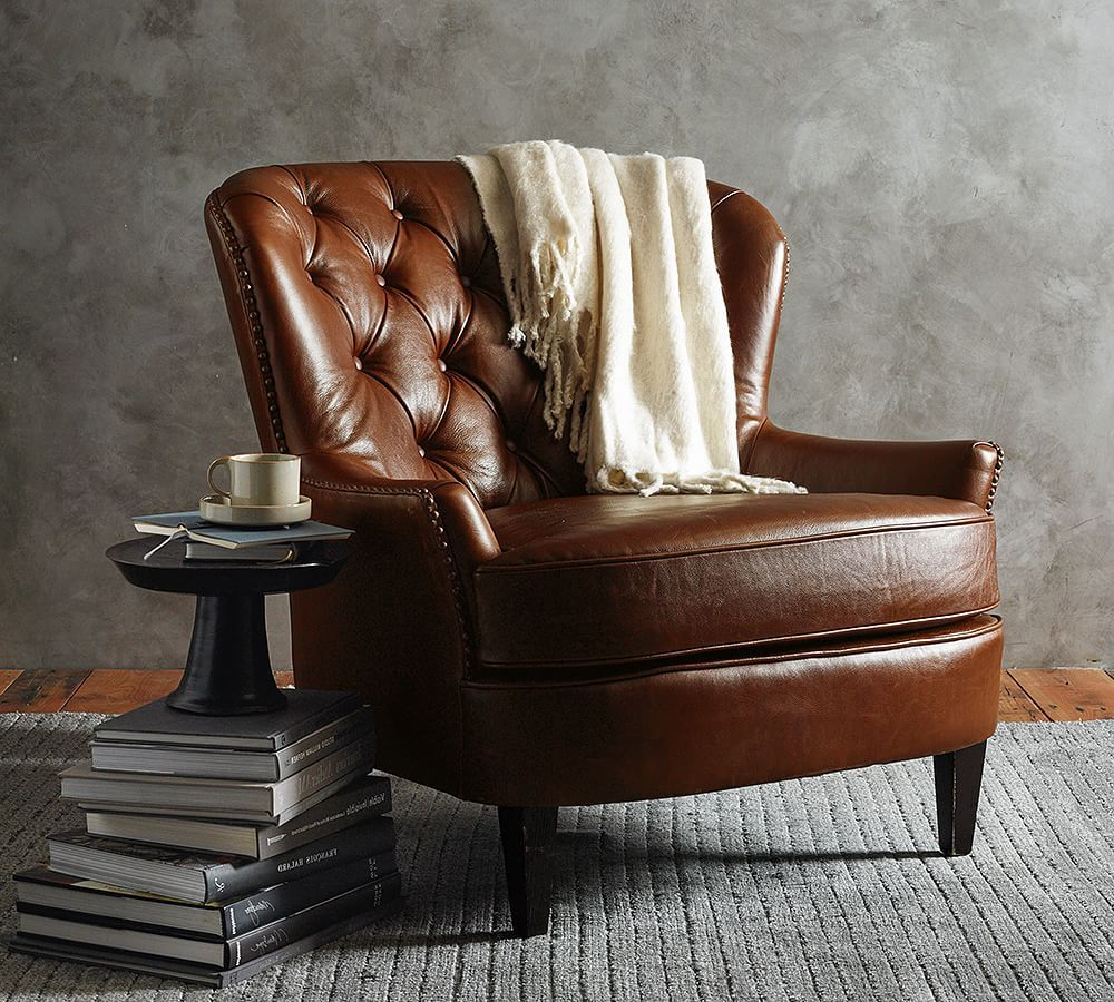 Cardiff Tufted Leather Armchair With Nailheads In 2020 Leather Armchair Tufted Leather Chair Leather Chair