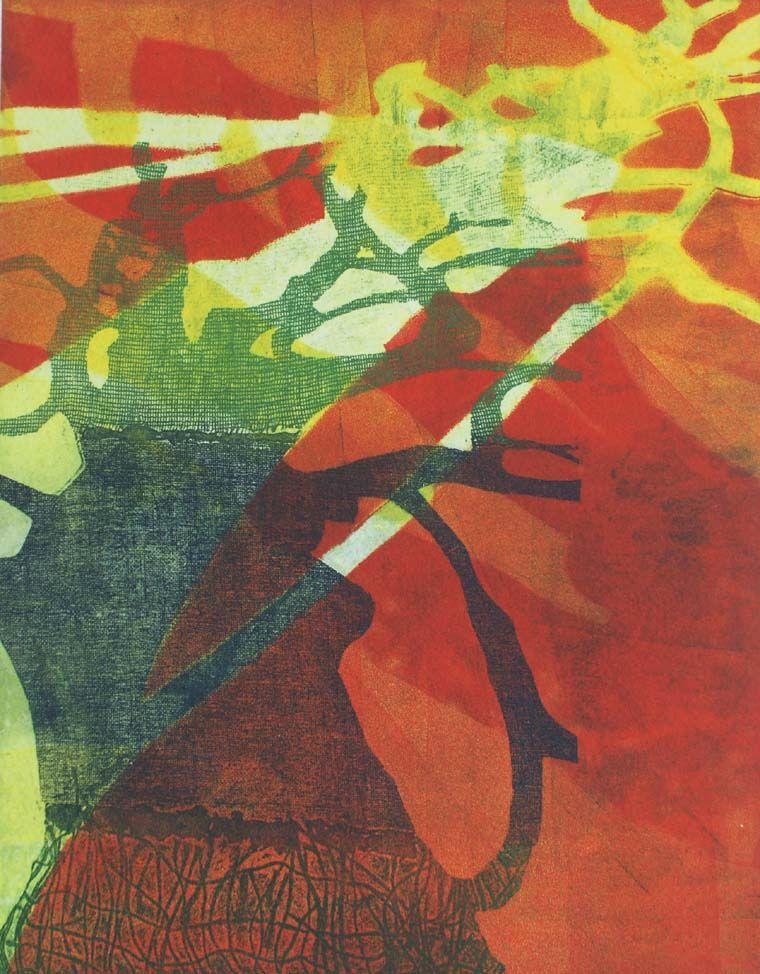 Royal Shadows by Robin Moorcroft. Etching plus stencils.