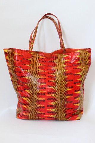 Carlos Falchi Red and Yellow Snakeskin Tote