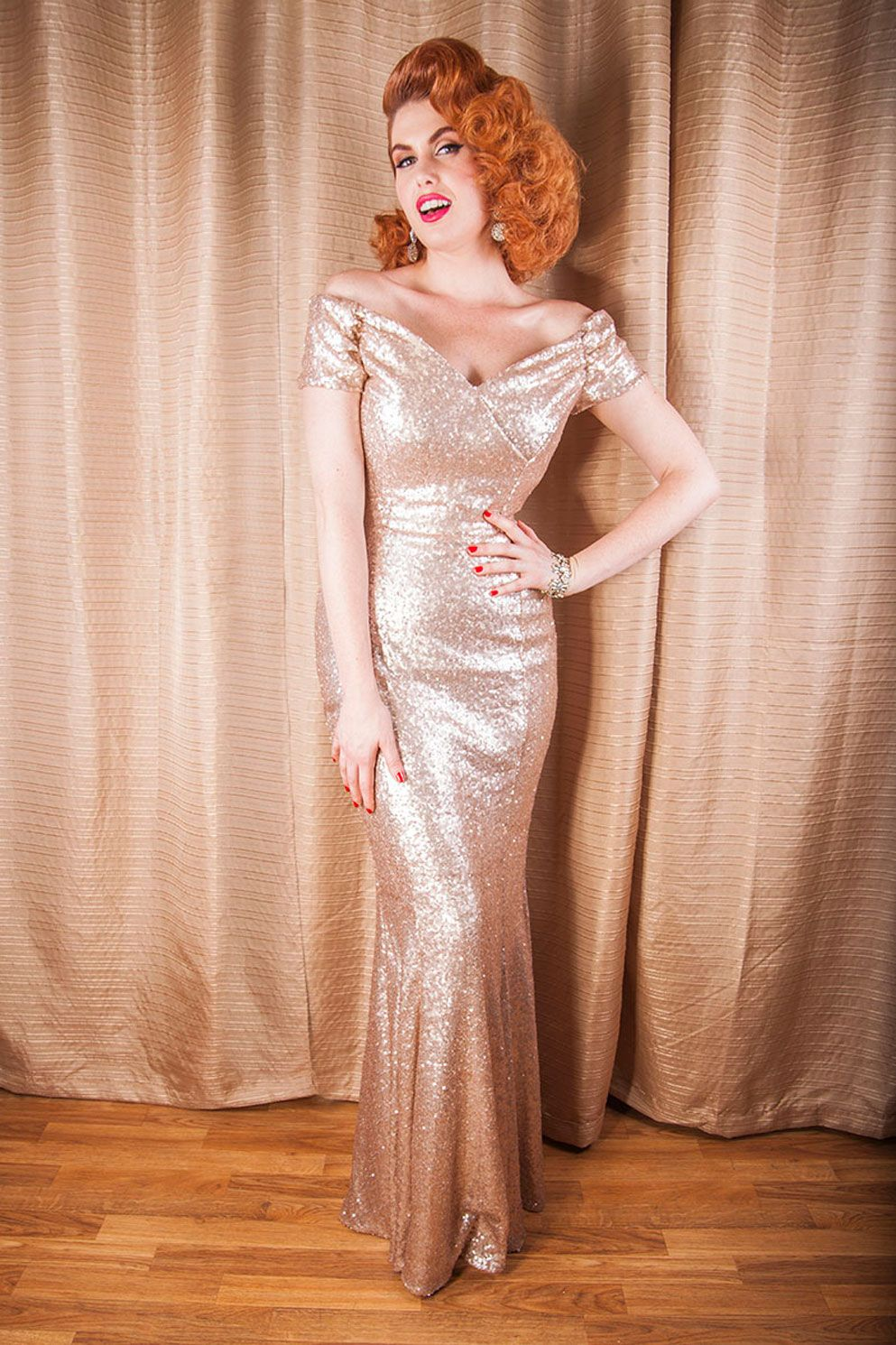 Fatale Pale Gold Sequin Gown | The Pretty Dress Company - Other ...